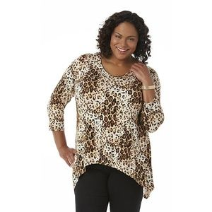 Simply Emma 2X Top Leopard Print Shark Bite Hem